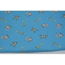 Bawełna 100% słoniki, małpki i żyrafy na niebieskim tle