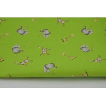Cotton 100%, elephants, monkeys and giraffes on a green background