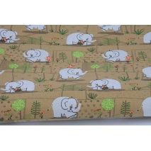Bawełna 100%, słonie pośród drzew na brązowym tle