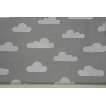 Bawełna 100% chmurki na jasnoszarym tle