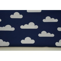 Cotton 100% white clouds on navy background