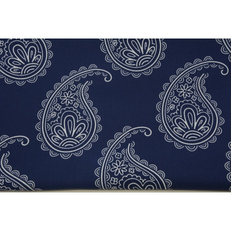 Cotton 100% paisley on a navy background