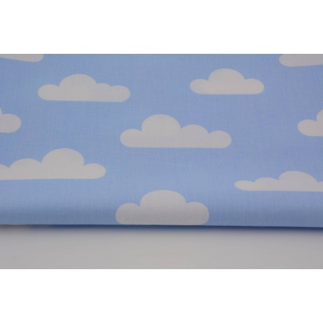 Cotton 100% white clouds on blue background