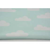 Cotton 100% white clouds on mint background