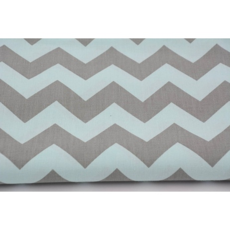 Cotton 100% gray chevron on a mint background
