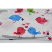 Bawełna 100% zakochane ptaszki na białym tle