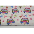 Cotton 100% cars with garland on a white background