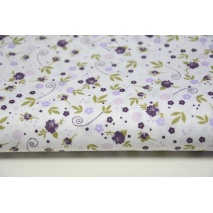 Cotton 100% small violet flowers, meadow