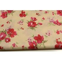 Bawełna 100% czerwone, różowe kwiaty