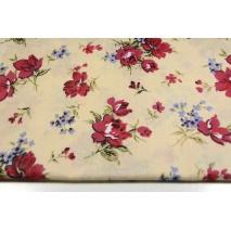 Bawełna 100% bordowo, niebieskie kwiaty