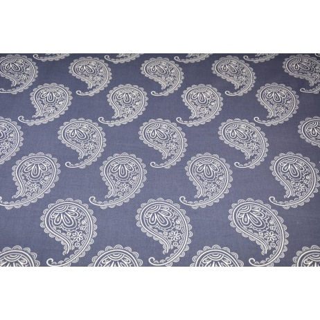 Cotton 100% paisley on a light navy, denim background