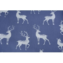 Cotton 100% whitetail deer on a light navy background