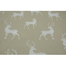 Cotton 100% whitetail deer on a beige background