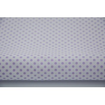Cotton 100% violet polka dots 3mm on a white background