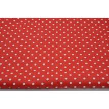 Bawełna 100% kropki 4mm na czerwonym tle