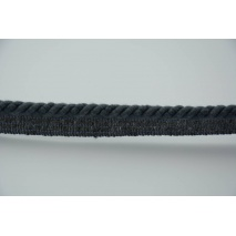 Dark gray 6mm Cotton Cord with Ribbon