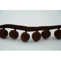 Tasiemka z pomponami czekoladowy brąz, duża