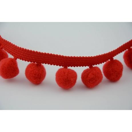 Tasiemka z pomponami czerwona, duża