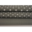 Cotton 100% polka dots 2mm on a dark gray background