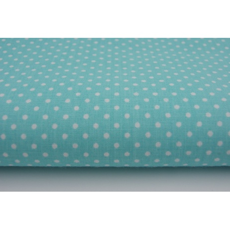Cotton 100% polka dots 2mm on a turquoise background