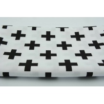 Cotton 100% black crosses, pluses on a white background