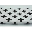 Bawełna 100% czarne krzyżyki, plusiki na białym tle