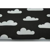 Bawełna 100% chmurki na czarnym tle