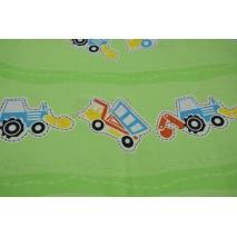 Bawełna 100% koparki, traktory na zielonym tle