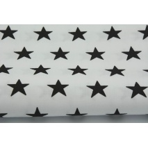 Cotton 100% black stars 25mm on a white background