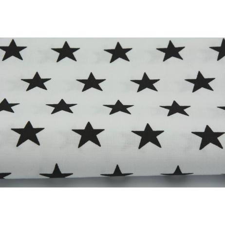 Cotton 100% black stars 25mm on a white background