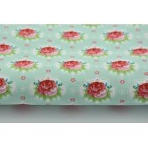 Bawełna 100% drobne czerwone różyczki na miętowym tle