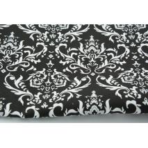 Cottont 100% Q white ornament, damask on a black background