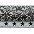 Bawełna 100% Q biały ornament, damask na czarnym tle