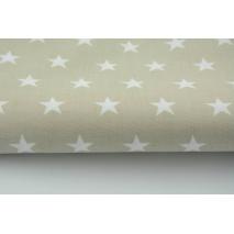 Bawełna gwiazdki białe 2cm na jasnobeżowym tle