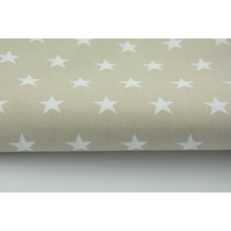Cotton 100% white stars 20mm on a light beige background