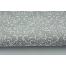 Bawełna 100% Q biały ornament, damask na jasnoszarym tle