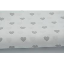 Bawełna 100% jasnoszare serduszka na białym tle