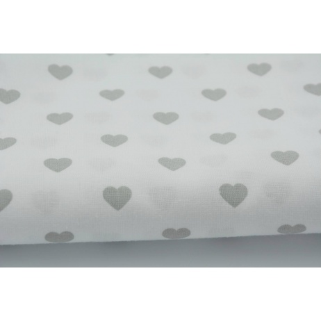Cotton 100% light gray hearts on a white background
