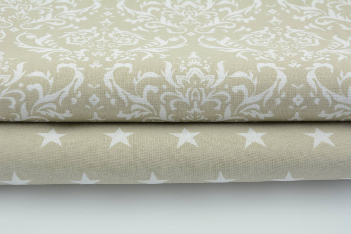 Cottont 100% Q white ornament, damask on a beige background