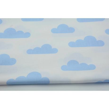 Cotton 100% blue clouds on a white background