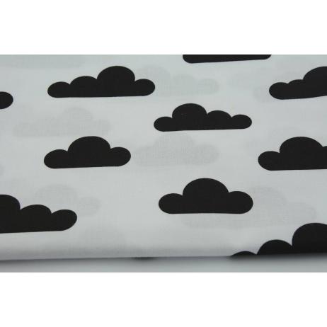 Bawełna 100% czarne chmurki na białym tle