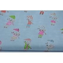 Bawełna 100% kotki, pieski z parasolkami na niebieskim tle