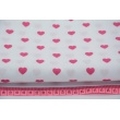 Cotton 100% fuchsia hearts on a white background