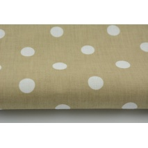Cotton 100% polka dots 17mm on a beige background