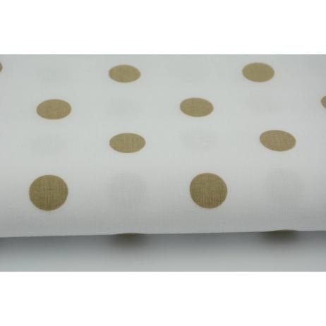 Bawełna 100% beżowe kropki 17mm na białym tle