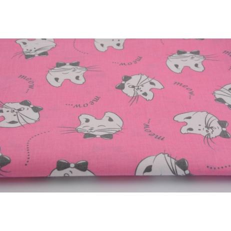 Bawełna 100% kotki na różowym tle