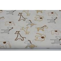 Bawełna 100% żyrafy, zebry, słonie beż