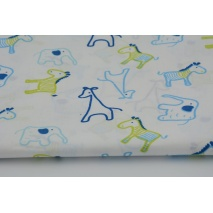 Bawełna 100% żyrafy, zebry, słonie niebieski