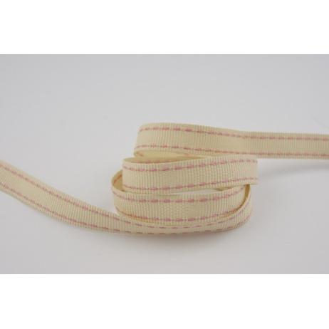 Stitched grosgrain beige ribbon 10mm