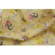 Bawełna 100% bajkowe zwierzęta na żółtym tle